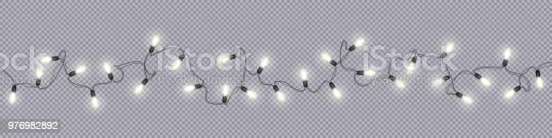Christmas And New Year Garlands With Glowing Light Bulbs - Stockowe grafiki wektorowe i więcej obrazów Abstrakcja