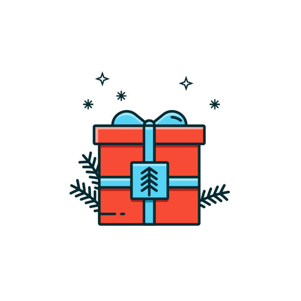 Christmas and New Year gift box decorated with pine branches, blue ribbon and bow in flat color line design. Present packaging vector illustration in thin linear style. Surprise package pictogram. Christmas and New Year gift box decorated with pine branches, blue ribbon and bow in flat color line design. Present packaging vector illustration in thin linear style. Surprise package pictogram. bonus march stock illustrations