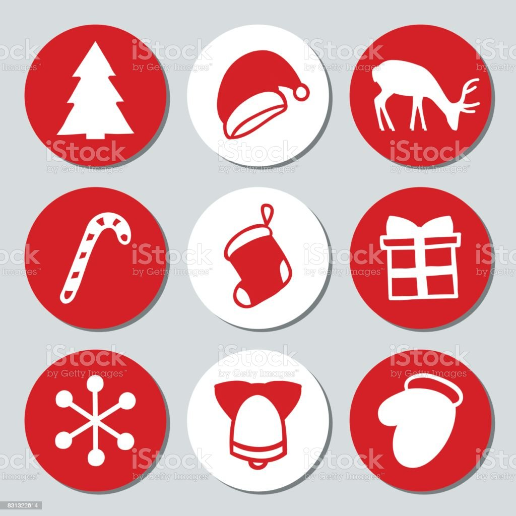 christmas and new year gift round stickers labels xmas set hand