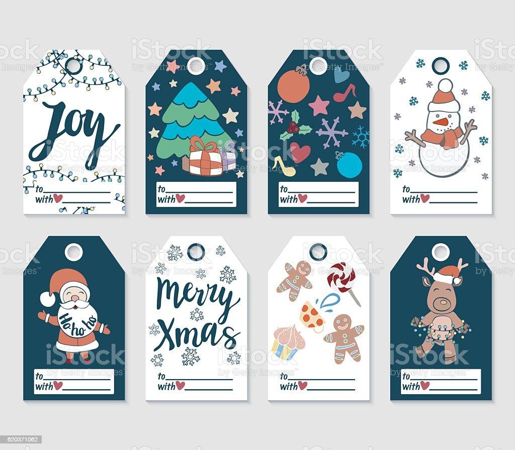Christmas and New Year gift tags and cards. christmas and new year gift tags and cards - arte vetorial de stock e mais imagens de coleção royalty-free