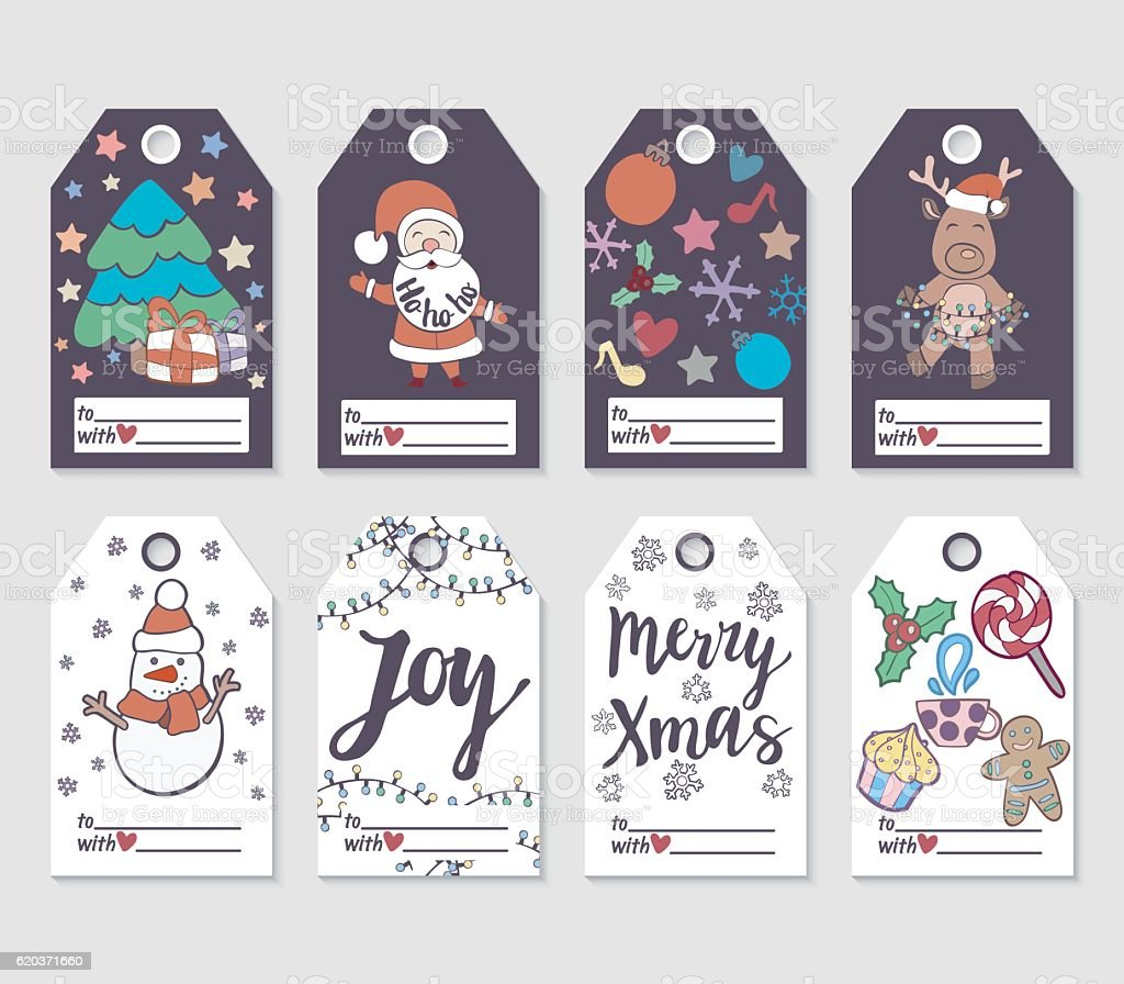 Christmas and New Year gift tags and cards. christmas and new year gift tags and cards - arte vetorial de stock e mais imagens de coleção royalty-free