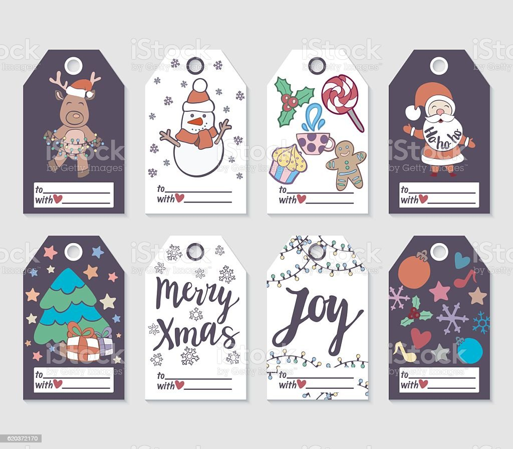 Christmas and New Year gift tags and cards. christmas and new year gift tags and cards - arte vetorial de stock e mais imagens de 2017 royalty-free
