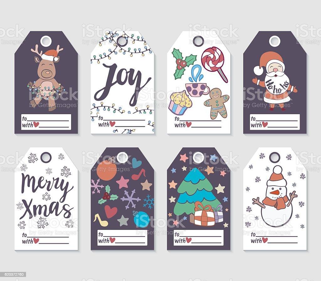 Christmas and New Year gift tags and cards. christmas and new year gift tags and cards - stockowe grafiki wektorowe i więcej obrazów 2017 royalty-free