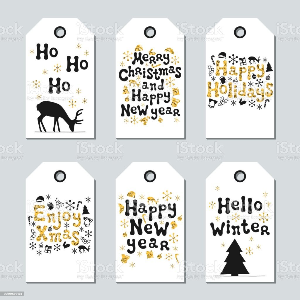 christmas and new year gift tags cards xmas gold set hand drawn