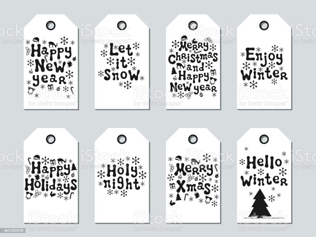 christmas and new year gift tags cards xmas set hand drawn elements collection