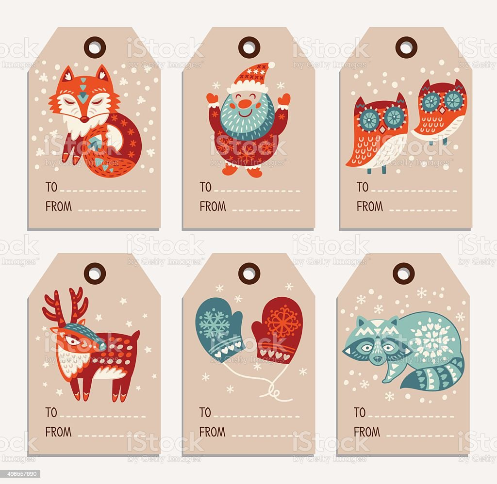 Christmas and New Year gift tags, stickers, labels向量藝術插圖
