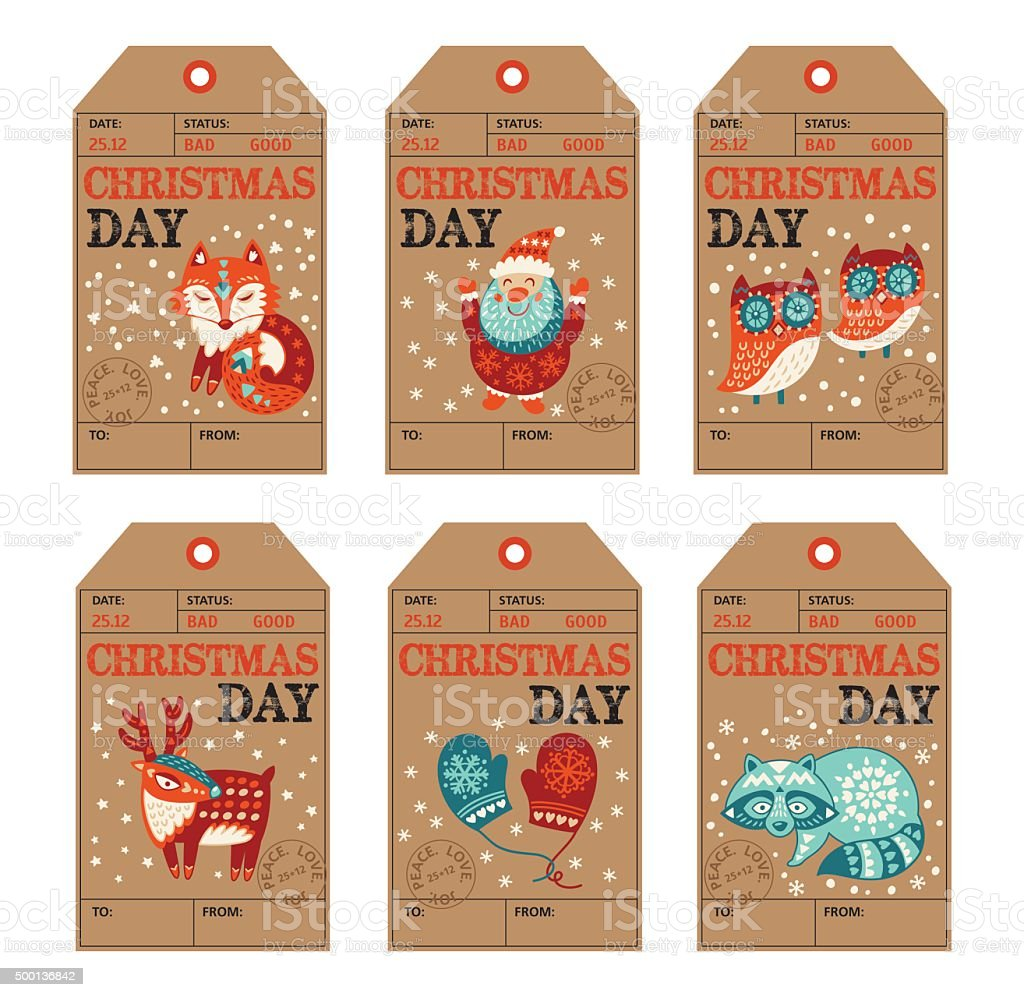 Christmas And New Year Gift Tags Stickers Labels Stock Vector Art ...