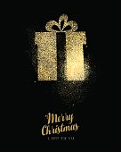 Merry Christmas and Happy New Year luxury greeting card design, gold gift box made of golden glitter dust on black background. EPS10 vector.