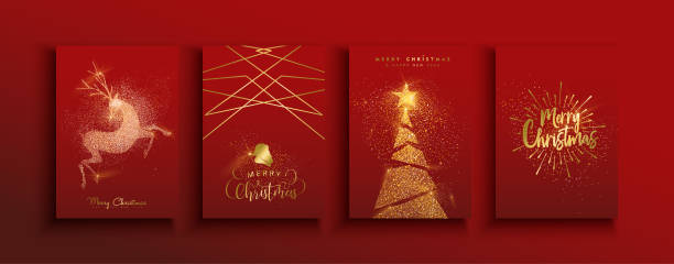 ilustrações de stock, clip art, desenhos animados e ícones de christmas and new year gold glitter luxury card set - christmas card