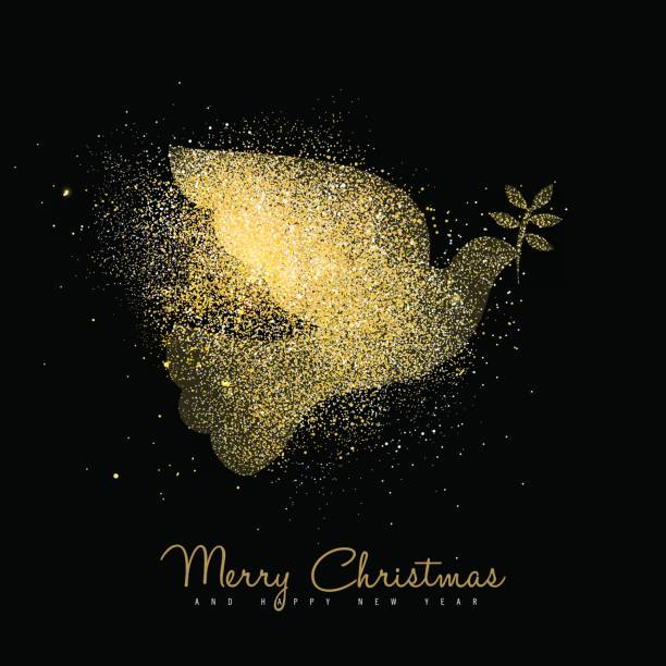Christmas and new year gold glitter peace dove art Merry Christmas and Happy New Year luxury greeting card design, gold dove bird silhouette made of golden glitter dust on black background. EPS10 vector. symbols of peace stock illustrations