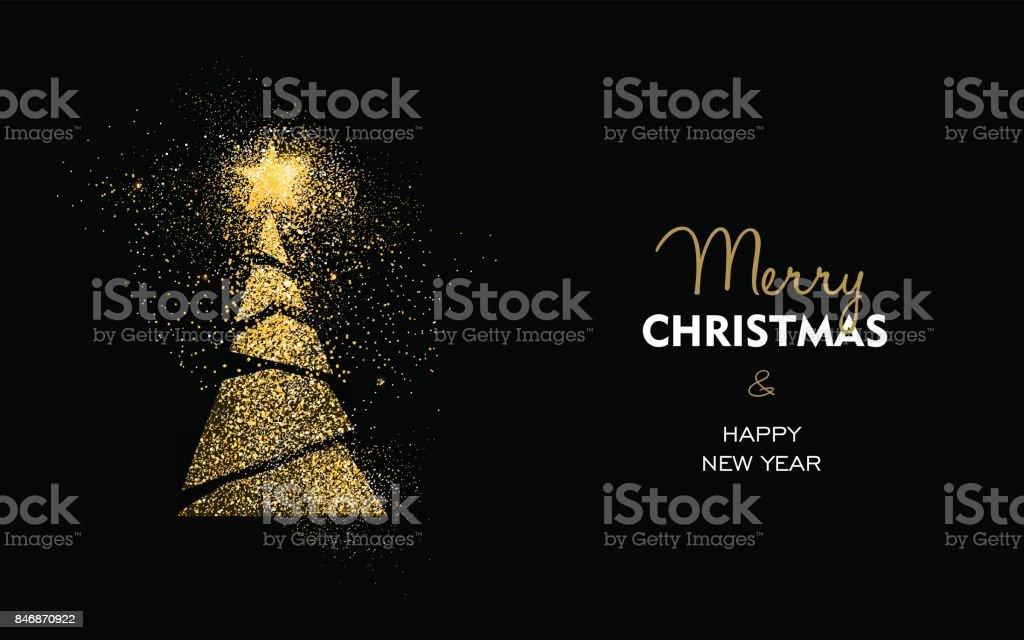 Weihnachten und Neujahr Goldglitter Kiefer Baum Karte – Vektorgrafik