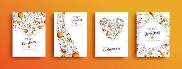 ilustrações de stock, clip art, desenhos animados e ícones de christmas and new year gold greeting card set - christmas card