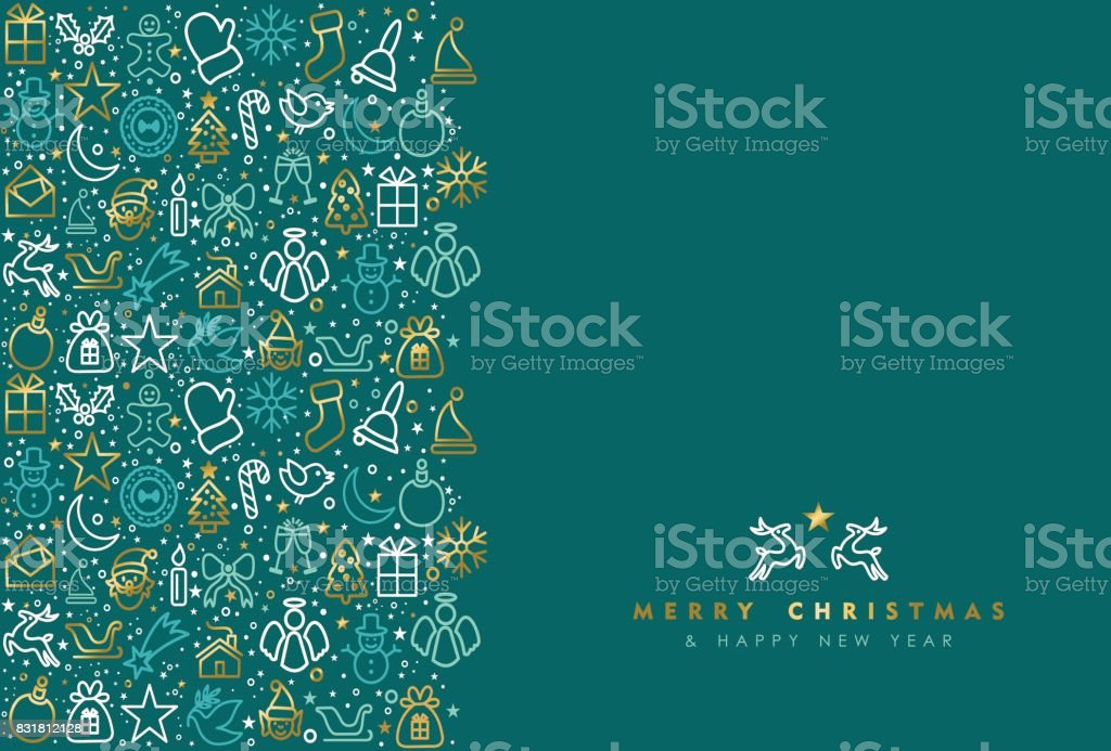 Christmas and new year gold icon greeting card vector art illustration