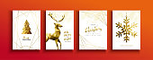 Merry Christmas Happy new year greeting card set of gold deer, pine tree and snowflake in abstract golden low poly style.
