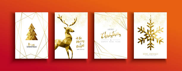 ilustrações de stock, clip art, desenhos animados e ícones de christmas and new year gold low poly deer card set - christmas card