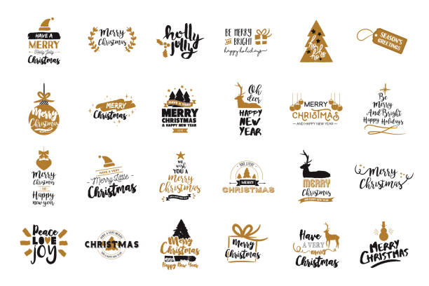 Christmas and new year gold typography quote set Merry Christmas text quote collection, calligraphy lettering design for holiday season. Large collection of gold typography illustrations. EPS10 vector. sayings stock illustrations