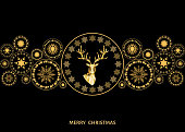 Christmas golden  decoration. Happy New Year background. Gold Xmas head of  reindeer and  snowflakes. Vector template  for greeting  card.