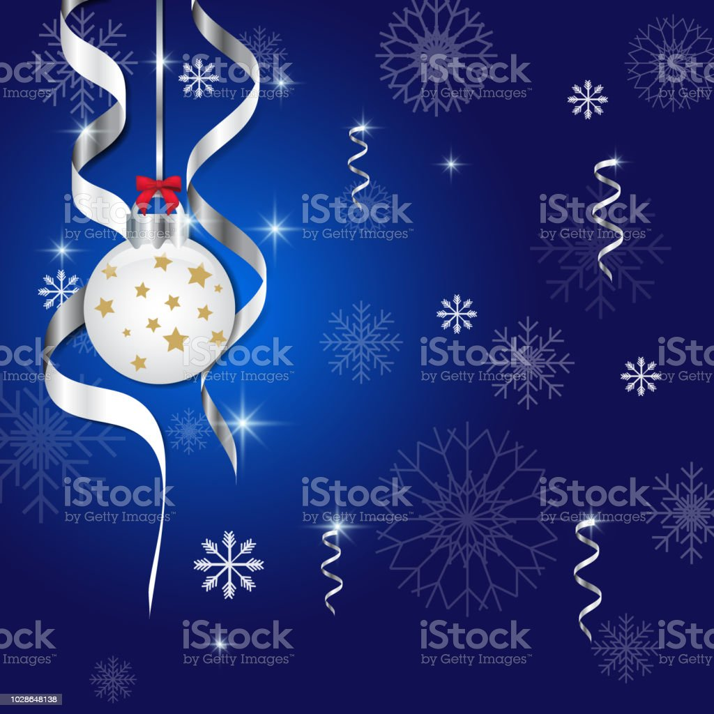 Christmas And New Year Greeting Card Ball And Snowflake On Blue