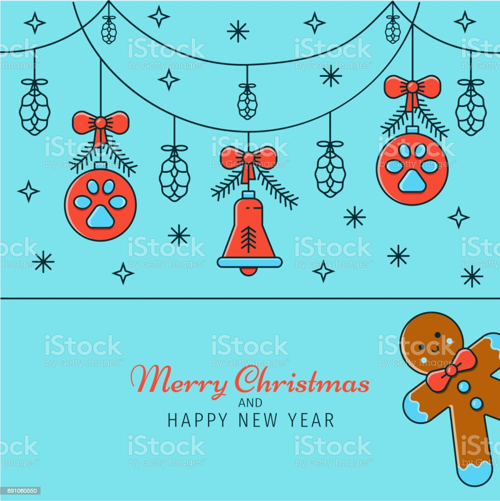 Ilustración de Navidad Y Año Nuevo Tarjeta De Felicitación Banner ...