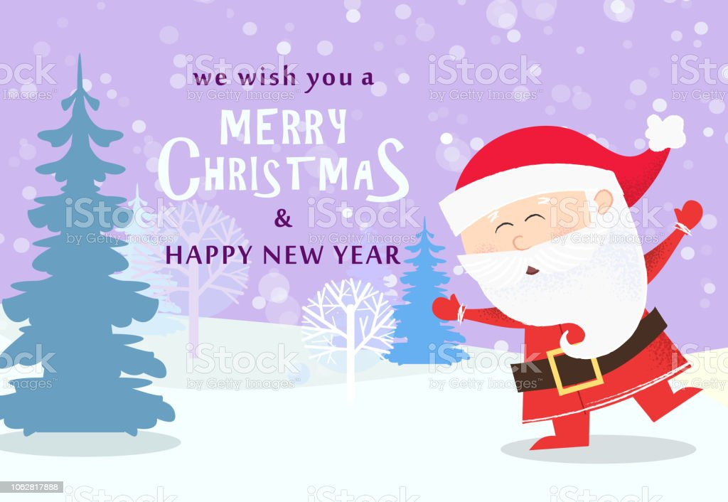 Christmas And New Year Greeting Card Design Dancing Santa Claus