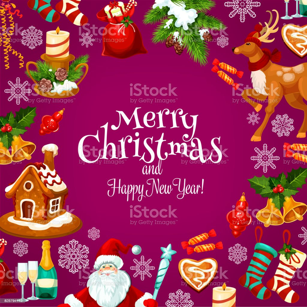 Christmas And New Year Greeting Card Design Stock Vector Art More