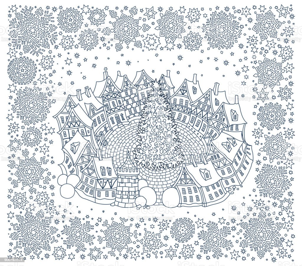 Christmas And New Year Greeting Card Fantasy Small City Landscape In Snowflake Frame Fairy