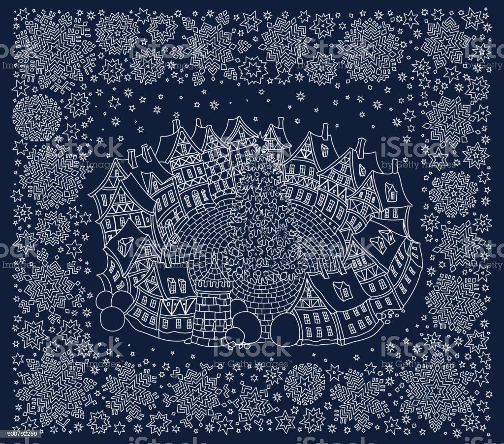 Weihnachten Und Neujahr Grußkarte Fantasielandschaft Kleinstadt Im ...
