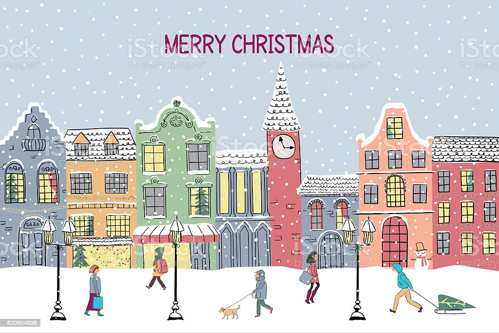 Christmas and New year greeting card. Hand drawn snowy town vector art illustration