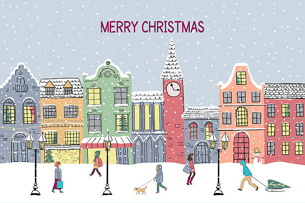 christmas and new year greeting card. hand drawn snowy town - city joke stock-grafiken, -clipart, -cartoons und -symbole