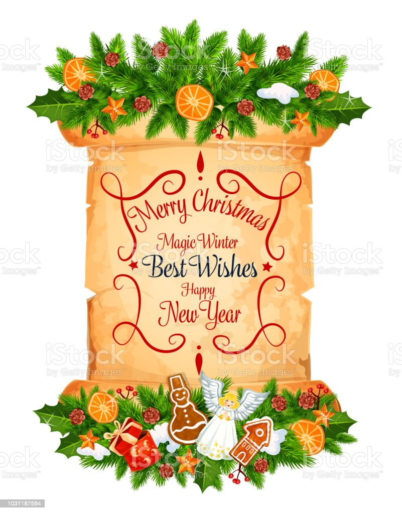 Christmas and new year greeting card on scroll stock vector art christmas and new year greeting card on scroll royalty free christmas and new year greeting m4hsunfo