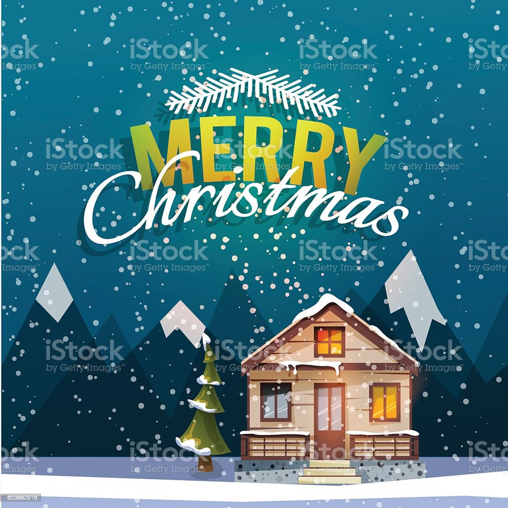 Christmas And New Year Greeting Card Sweet Family Home Among Stock