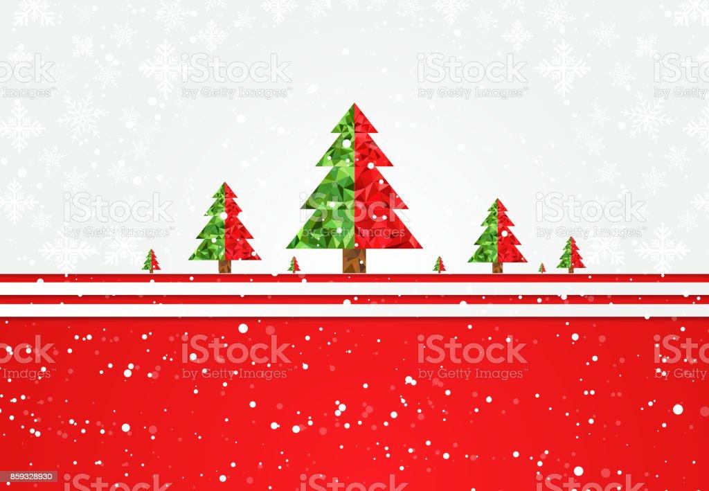 Navidad Y Año Nuevo Plantilla Con árbol De Navidad Nieve Copo De ...
