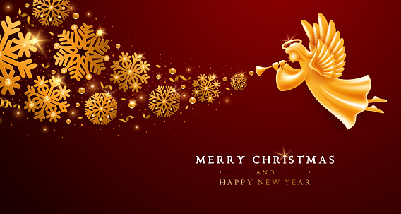 Christmas And New Year Greeting Card Template With Golden Angel