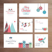 Set of vector Christmas and New Year greeting card templates