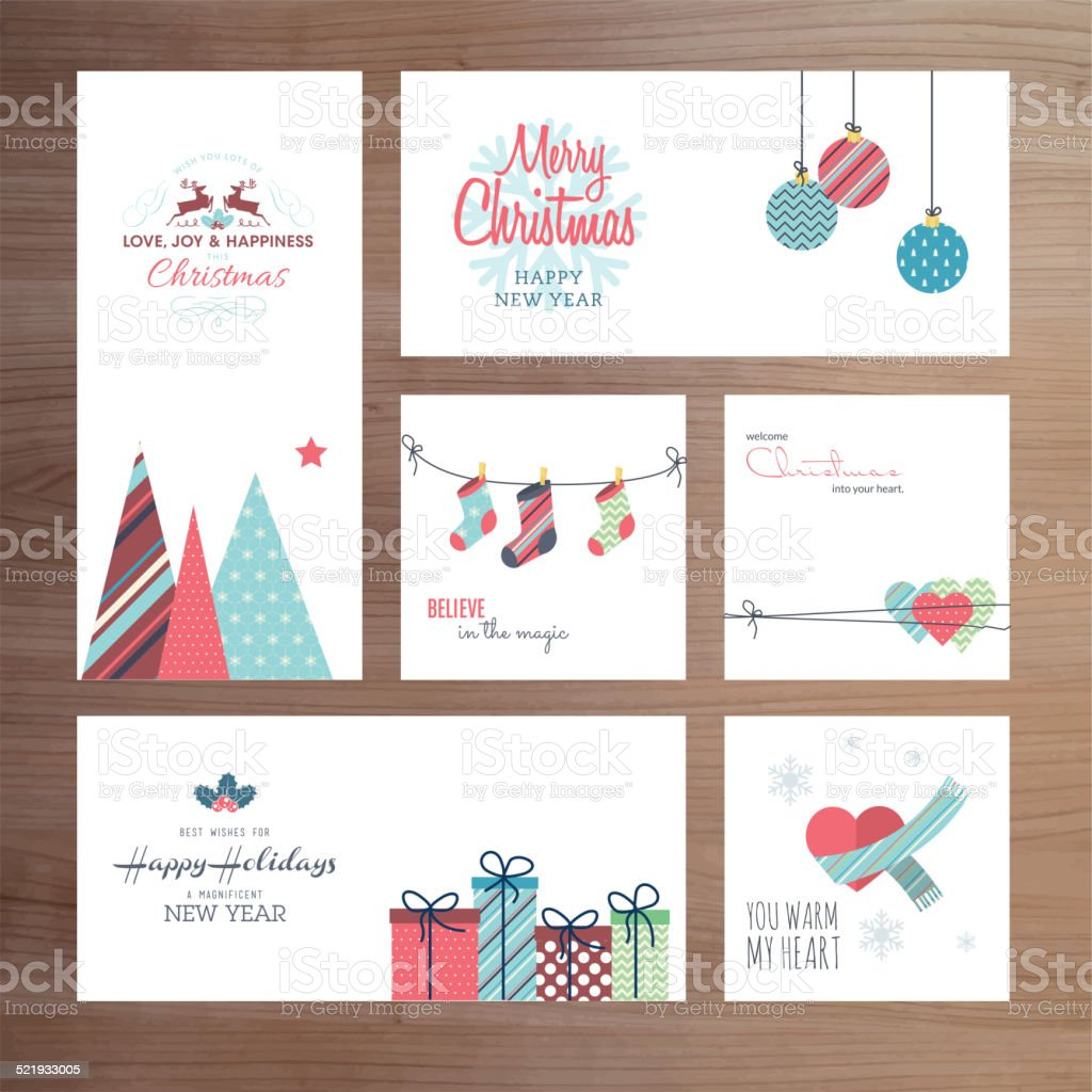 Christmas and New Year greeting card templates vector art illustration