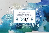 Christmas and New Year greeting card with hand drawn elements.