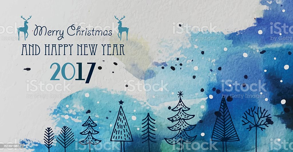 Christmas And New Year Greeting Card With Hand Drawn Elements vector art illustration