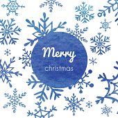 Christmas and New Year greeting card with snowflakes. EPS 10. No transparency. Gradient.