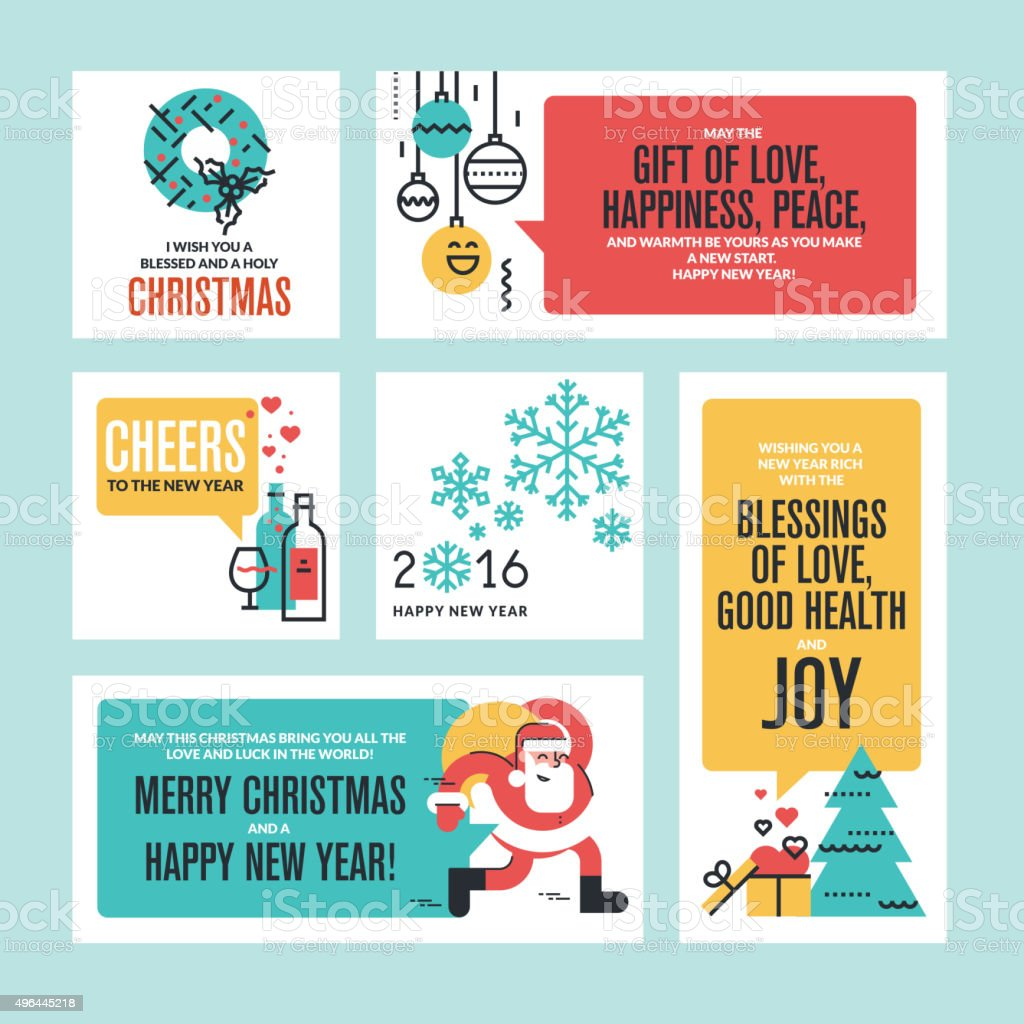 Christmas And New Year Greeting Cards And Banners Stock Vector Art