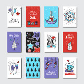 Christmas And New Year Greeting Cards Collection Doodle Style SEt Od Postcards Isolated On White Background Vector Illustration
