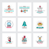 Set of flat line design Christmas and New Year greeting cards. Vector Illustration