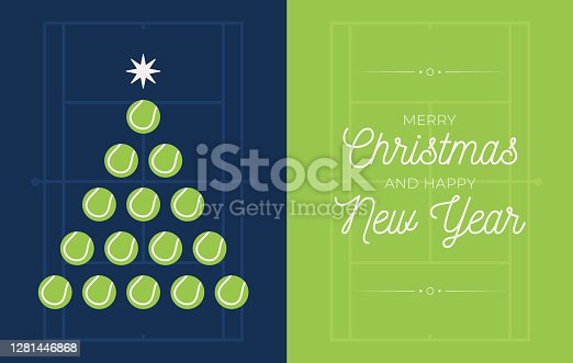 istock Christmas and new year greeting flat cartoon card. Creative Xmas tree made by tennis ball on tennis field background for Christmas and New Year celebration. Sport greeting card 1281446868
