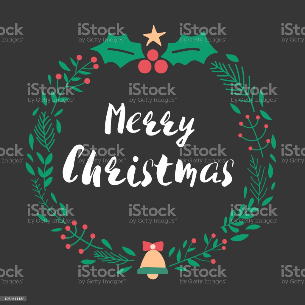 christmas and new year greeting or invitation card christmas lettering design with wreath decoration