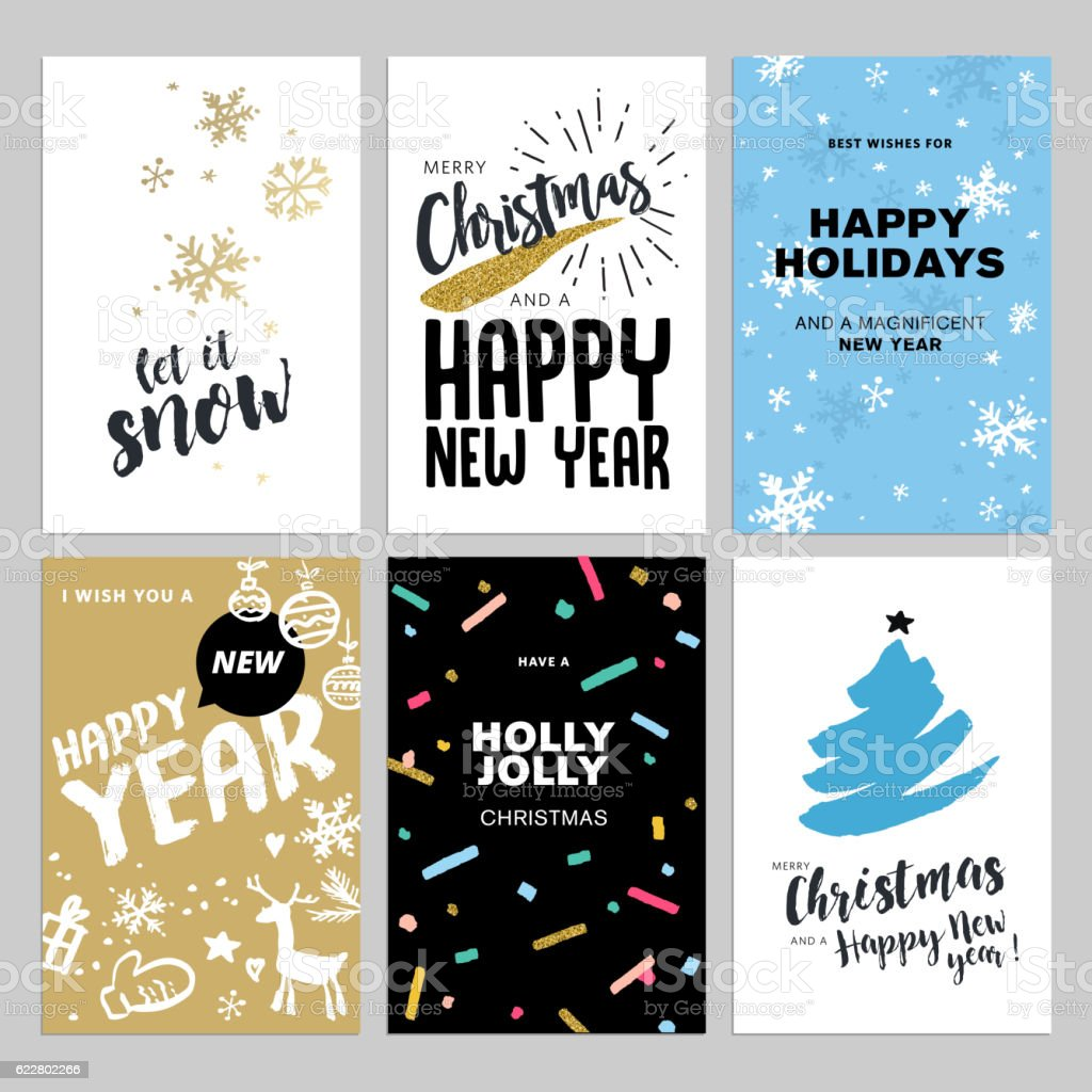 Christmas and New Year hand drawn greeting cards set vector art illustration