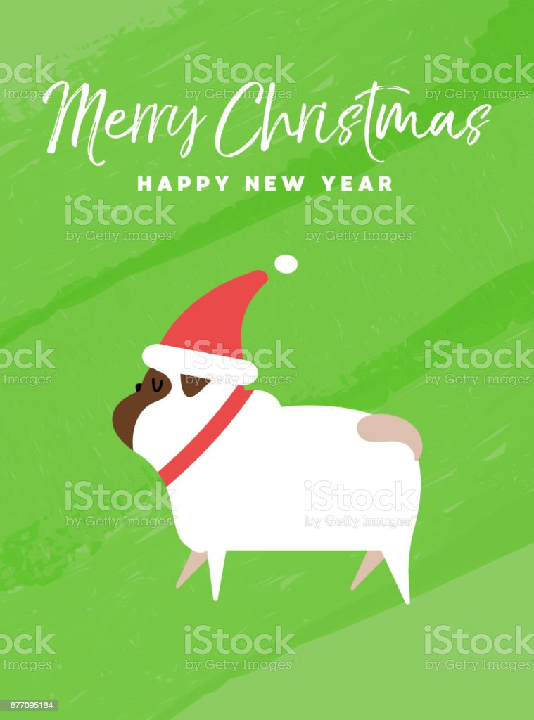 Christmas and new year holiday pug dog card stock vector art more christmas and new year holiday pug dog card royalty free christmas and new year holiday m4hsunfo