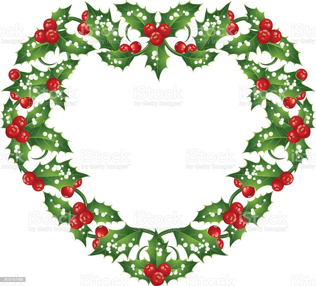 Christmas And New Year Holly Heart Frame Stock Vector Art & More ...