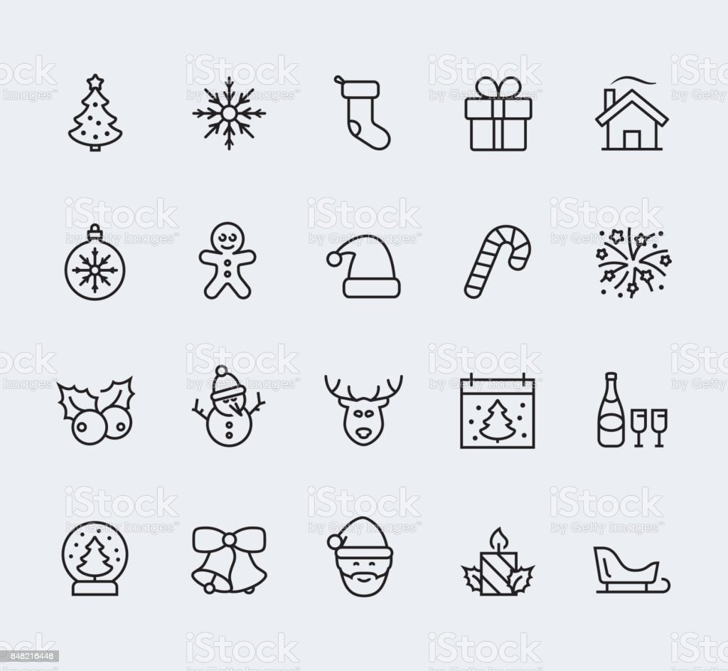 Christmas and new year icon set in thin line style vector art illustration