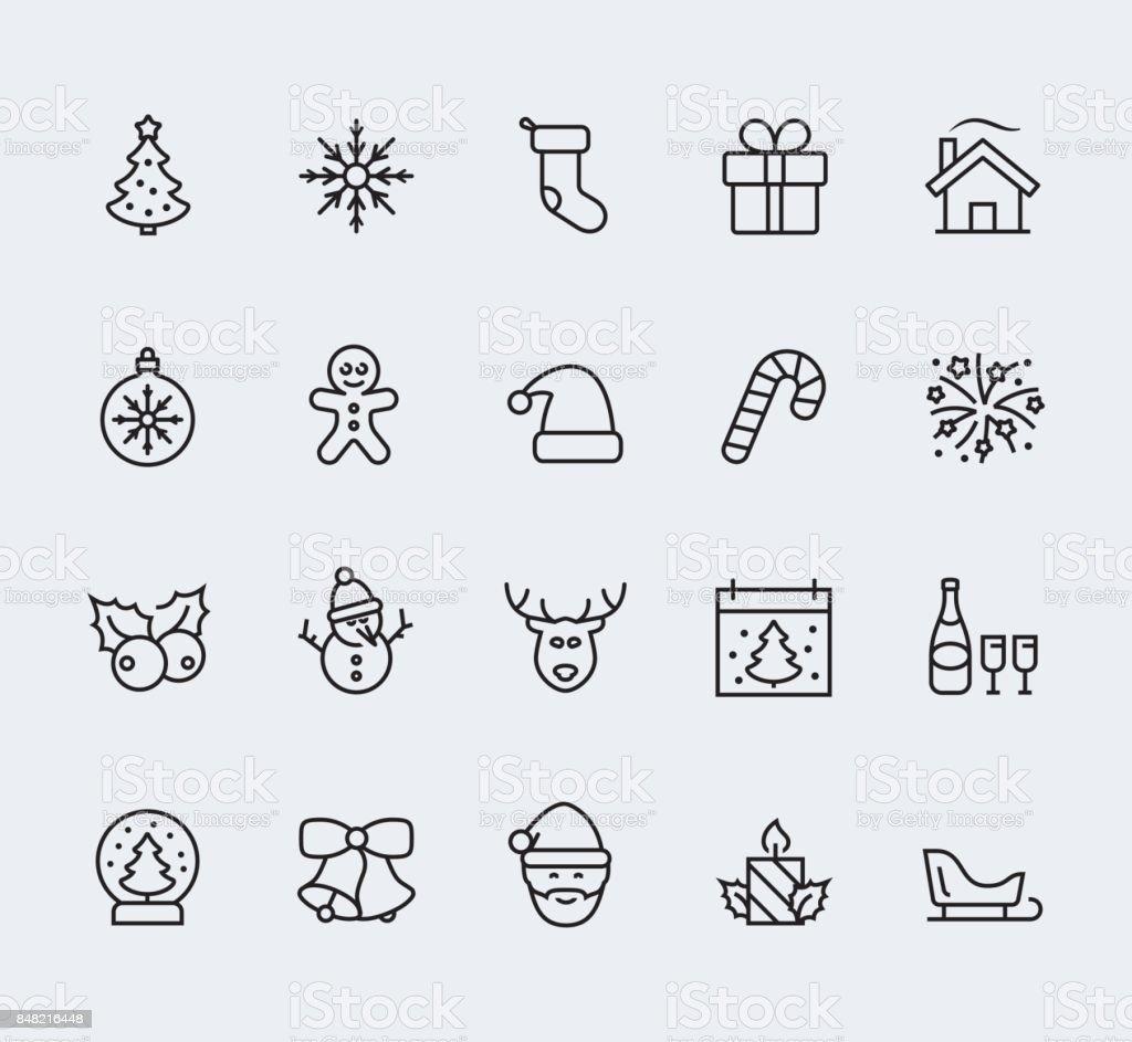 Navidad y año nuevo icono conjunto en estilo de línea fina - ilustración de arte vectorial