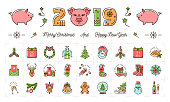 Christmas and New Year icons, 2019 year the Pig, Holiday colorful signs. Thin line art design, Vector outline illustration