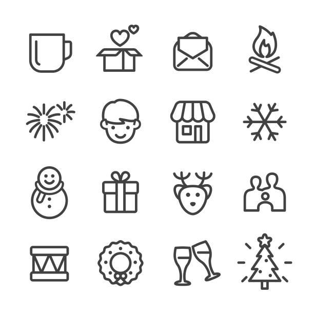 illustrations, cliparts, dessins animés et icônes de noël et nouvel an icons - série en ligne - vitrine magasin